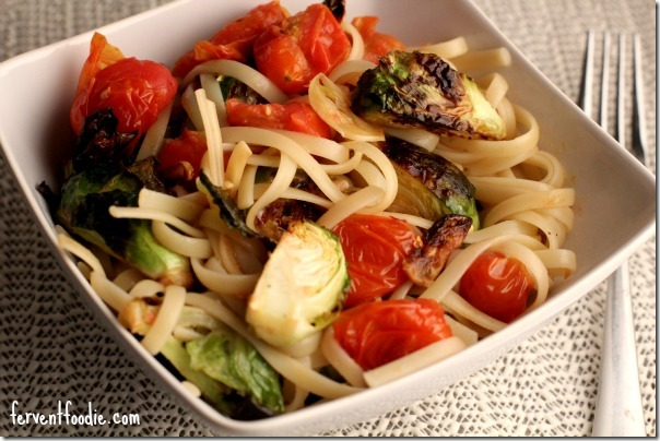 spaghetti with roasted brussels sprouts and cherry tomatoes 2