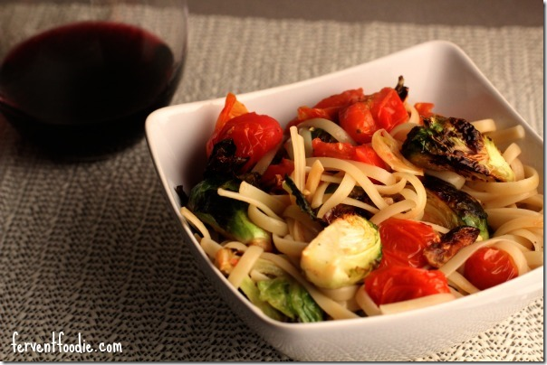 spaghetti with roasted brussels sprouts and cherry tomatoes