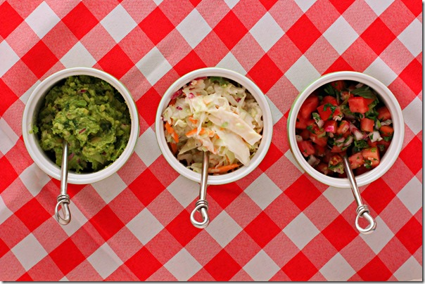 sausage toppings - guacamole slaw pico de gallo